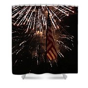 Fireworks With Flag Shower Curtain