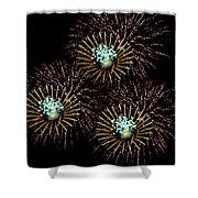 Fireworks - Yellow Spirals Shower Curtain