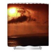 Firey Island Sunrise Shower Curtain