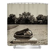 First Base In Sepia Shower Curtain