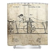 First Exercise Machine Patent Shower Curtain