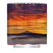 First Light On Mount Hood During Sunrise Shower Curtain