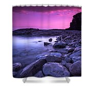 First Light On The Rocks At Indian Head Cove Shower Curtain
