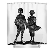 First Love-black Shower Curtain