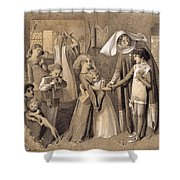 First Meeting With Beatrice Shower Curtain
