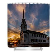 First Parish Church In Milton Massachusetts Sunset Shower Curtain
