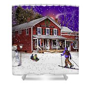 First Snow At The South Woodstock Country Store Shower Curtain