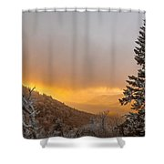 First Snow On The Blue Ridge Parkway. Shower Curtain by Itai Minovitz