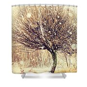 First Snow. Snow Flakes Shower Curtain