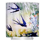 First Swallows Of Summer  Shower Curtain