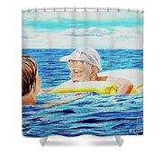 First Swimming - Nadar Primero Shower Curtain