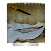 Fish And Knife On A Cutting Board Shower Curtain