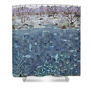 Fish And Winter Shower Curtain