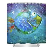 Fish Blue Shower Curtain