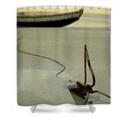 Fish Boat And Anchor On Low Tide  Shower Curtain