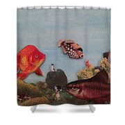 Fish Eating Cats. Shower Curtain