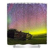 Fish-eye Lens Composite Of Aurora Shower Curtain