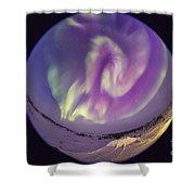 Fish-eye Lens View Of An Aurora Shower Curtain