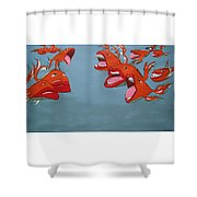 Fish Fight Shower Curtain