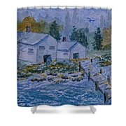 Fish House And Dock 2  Shower Curtain