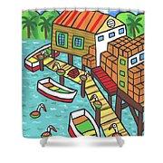 Fish House-cedar Key Shower Curtain