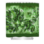 Fish In Green Mosaic 2 Shower Curtain