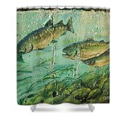 Fish On The Wall 2 Shower Curtain