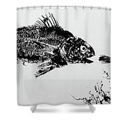 Fish Print On Butcher Paper Shower Curtain
