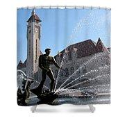Fish Ride Landscape Shower Curtain