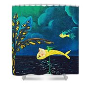 Fish Riding A Unicycle Shower Curtain