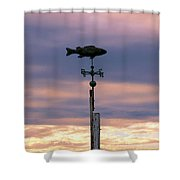 Fish Weather Vane At Sunset Shower Curtain