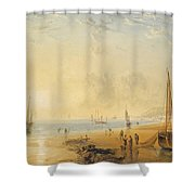 Fisherfolk On The Shore Near Dover At Sunset Shower Curtain