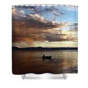Fisherman At Sunset On Lake Titicaca Shower Curtain