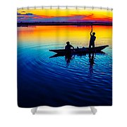 Fisherman Boat On Summer Sunset, Travel Photo Poster Shower Curtain