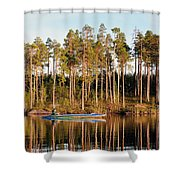 Fisherman On Evening Lake Shower Curtain