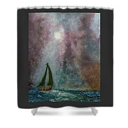 Fisherman Under Full Moon Shower Curtain