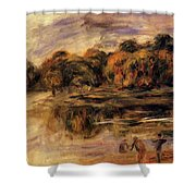 Fishermen By A Lake Shower Curtain