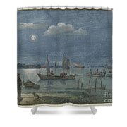 Fishermen By Moonlight Shower Curtain