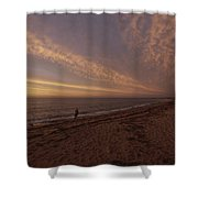Fishermen Fishing In The Surf At Sunset Shower Curtain