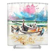 Fishermen In Praia De Mira 03 Shower Curtain