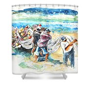 Fishermen In Praia De Mira Shower Curtain