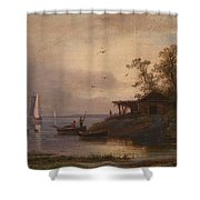 Fishermen In The Harbour Shower Curtain