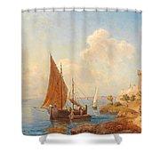 Fishermen On The Dalmatian Coast Shower Curtain