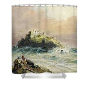 Fishermen On The Rocks Before A Castle Shower Curtain