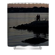 Fishermen Silhouetted By The Sunset Shower Curtain