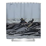 Fishermen With Seagull Shower Curtain
