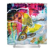 Fishes In Water, Original Painting Shower Curtain