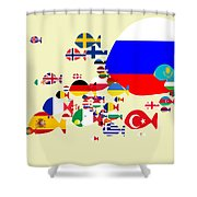 Fishes Map Of Europe Shower Curtain