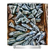 Fishing - Box Of Sinkers Shower Curtain