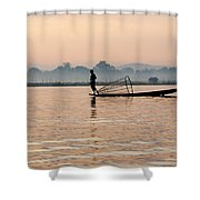 Fishing At Dawn Shower Curtain